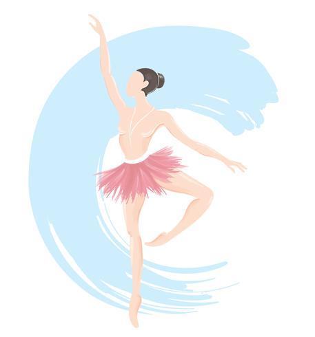 ballerina della donna, icona di logo di balletto per l'illustrazione di vettore dello studio di ballo della scuola di balletto