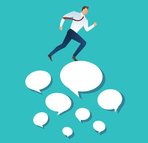 businessman running on chat box vector illustration
