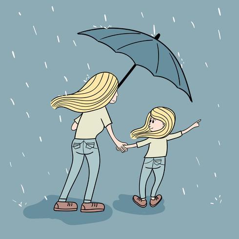 Sacrifício da mãe para andar na chuva para a filha comprar brinquedos à noite vetor