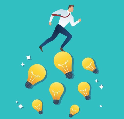 Ilustración del empresario corriente en concepto de idea bombilla