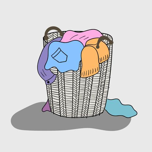 A variety of colored clothes are mixed in a wooden basket that looks dirty vector