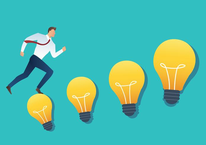 illustration of running businessman on light bulb idea concept vector