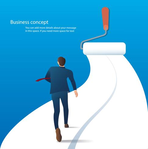 businessman running on the road painting with a paint roller vector. business concept illustration