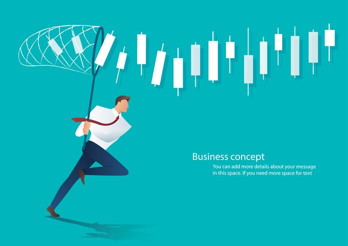 businessman trying to catch candlestick chart business concept vector