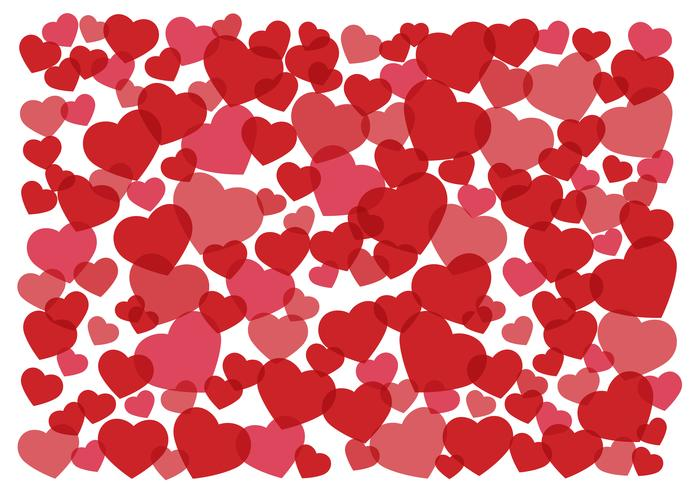 many red hearts background vector illustration