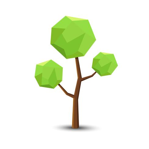 Tree in Lowpoly Style for you design ,Vector illusatration