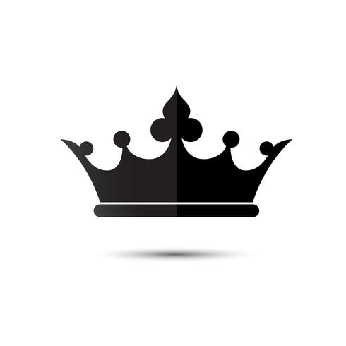 Símbolo de la corona con el color negro aislado en el fondo blanco, ilustración vectorial