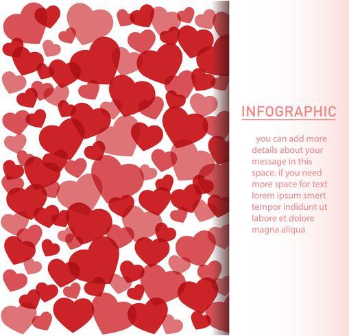 muchos corazones rojos ilustración vectorial de fondo