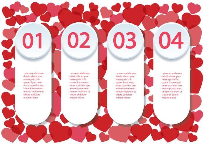 many red hearts infographics template 4 option background vector illustration