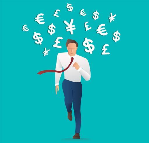 zakenman met geld pictogram, Trendy isometrische zakenman, Concept zakelijke vectorillustratie vector