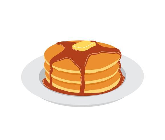 Pannkakor med smör och lönnsirap söt på vit platta vektor