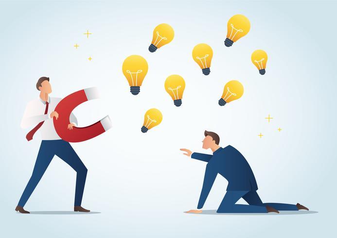 empresário segurando ímã atrair lâmpadas roubam trabalho de colega, ilustração vetorial de plágio