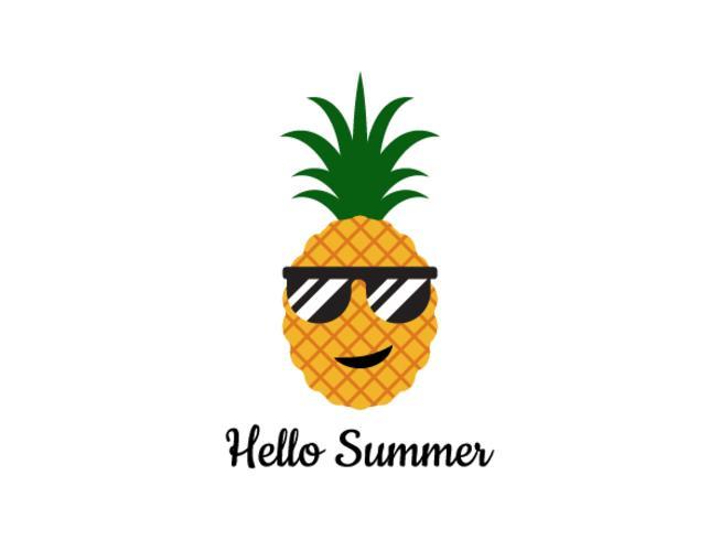 Vectorillustratie van ananas met glazen - Hello-de zomerconcept