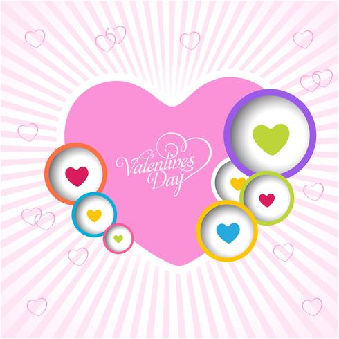 Happy valentine's day love Greeting Card with Color full Heart . Vector