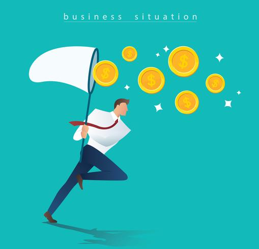 businessman trying to catch money business concept vector