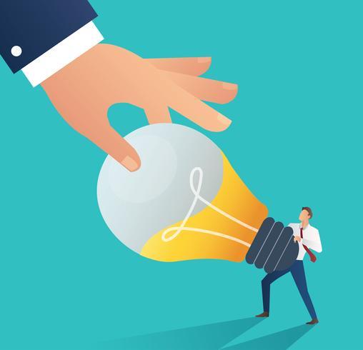 Mano di affari che ruba la lampadina di idea. illustrazione di vettore di affari di concetto di plagio. Stile di design piatto.