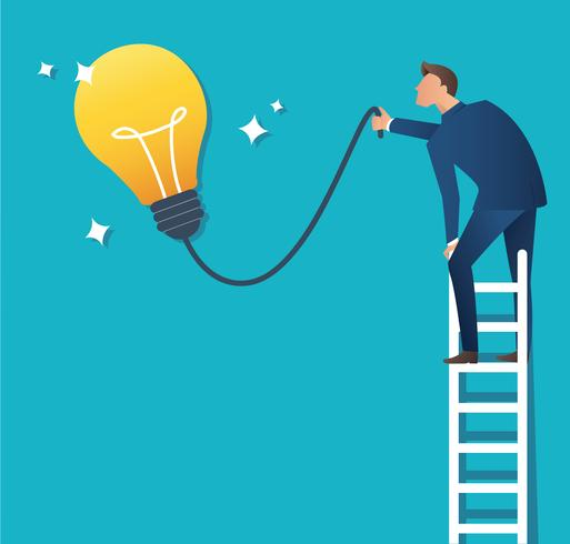 Business concept vector illustration of a man on ladder pointing at yellow light bulb
