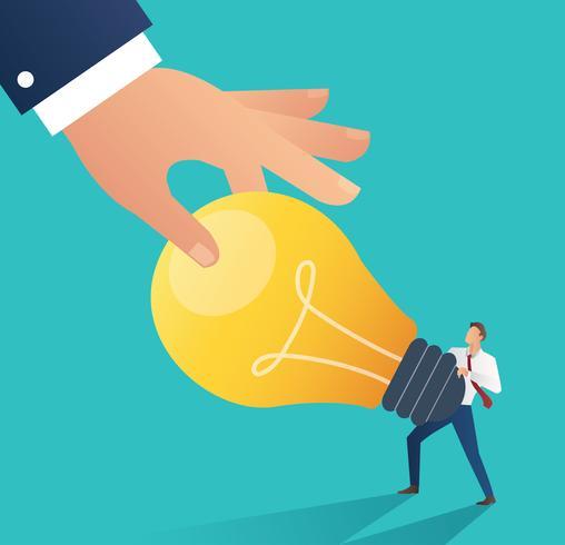 Business hand stealing idea light bulb. plagiarism concept business vector illustration. Flat design style