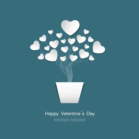 Happy Valentine's day greeting card with White Heart paper cut stype on Green background, vector Desgin
