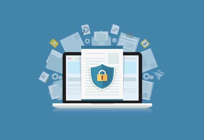 Il concetto è la sicurezza dei dati Centro. Proteggi sul computer Il laptop protegge i dati sensibili. Sicurezza di Internet. Illustrazione vettoriale