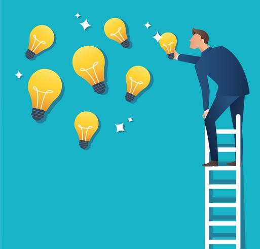Ilustración de vector de concepto de negocio de un hombre en la escalera apuntando a la bombilla de luz amarilla