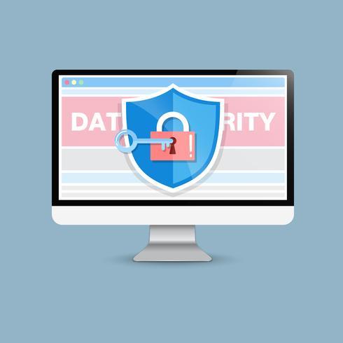 Concept is data security . Shield on Computer Desktop protect sensitive data. Internet security. Vector Illustration.or