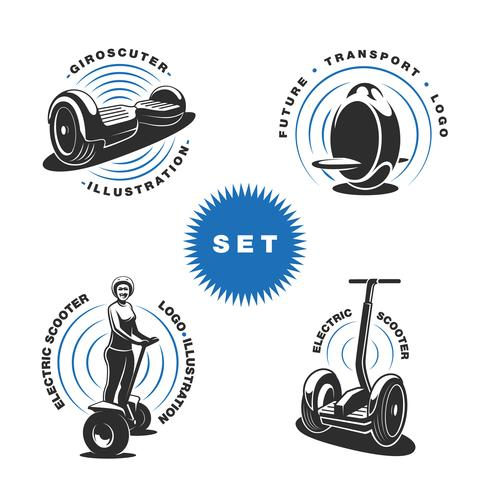 Electric scooter emblems vector