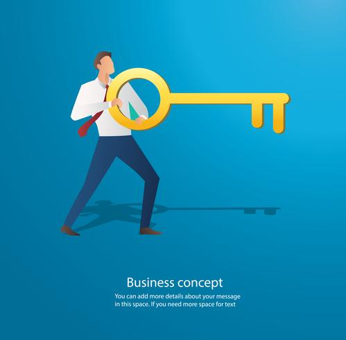 businessman holding the big key vector