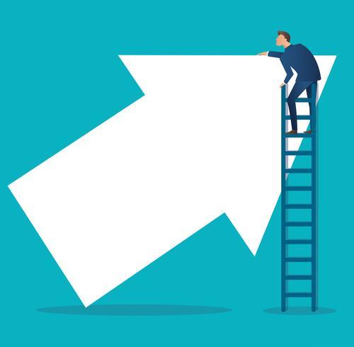 Affärsidé vektor illustration av en man på stege med pil uppåt
