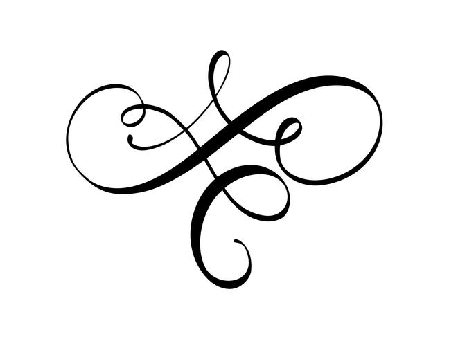Vector calligraphy element flourish. Hand drawn divider for page decoration and frame design illustration swirl ornament. Decorative for wedding cards and invitations
