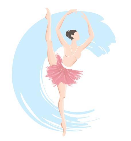 femme ballerine, icône du logo ballet pour illustration vectorielle de ballet école danse studio