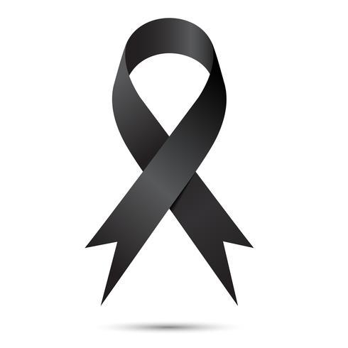Black awareness ribbon isolate on white background, Vector illustration