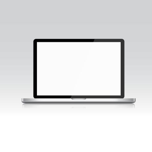 Laptop die op wit, Vectot-ontwerp wordt geïsoleerd