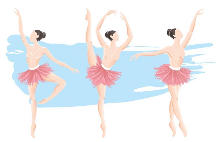 set of woman ballerina, ballet logo icon for ballet school dance studio vector illustration