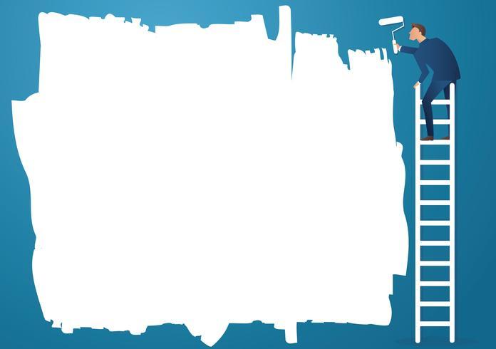 en man på stegen målning med en färgrulle