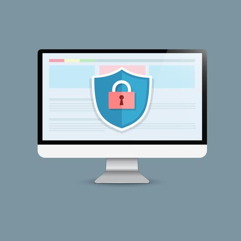 Concept is data security Access .Shield on Computer Desktop  protect sensitive data. Internet security. Vector Illustration.