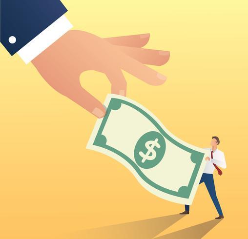 grosse main tenir l'icône du dollar avec l'homme d'affaires. illustration vectorielle de triche argent