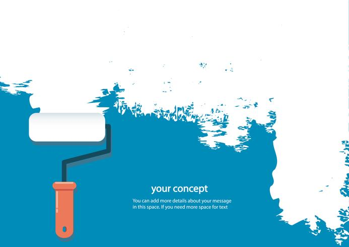 paint roller isolated with space for text and blue background vector