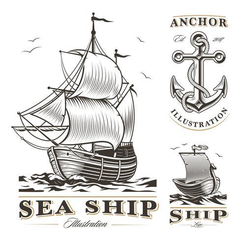 Set van vintage schepen vector