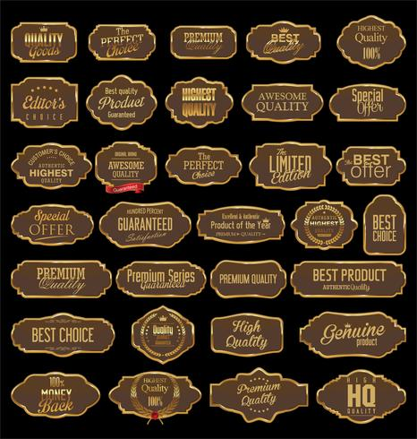 Vintage frames blank retro badges and labels collection vector