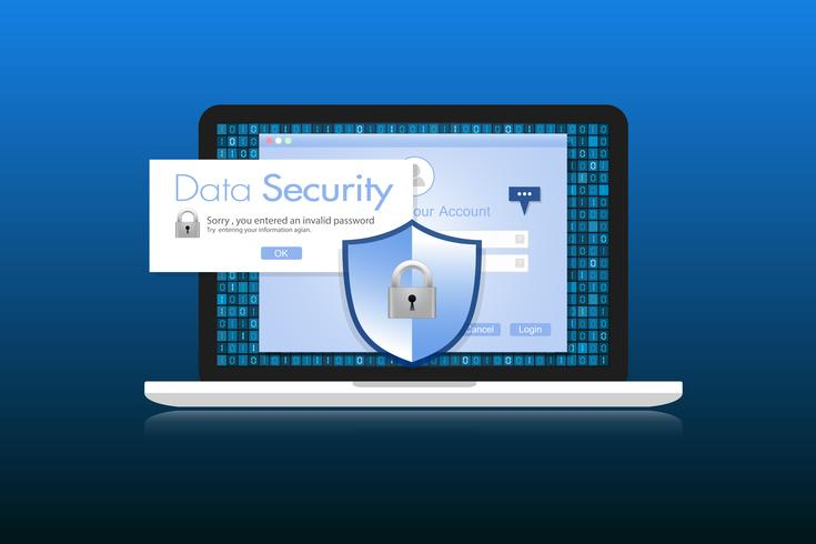 Concept is data security. Shield on Labtop protect sensitive data. Internet security. Vector Illustration.