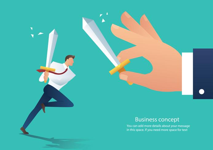 businessman conflict aggressive holding sword fighting with the co-worker, businessman fight boss at work vector illustration