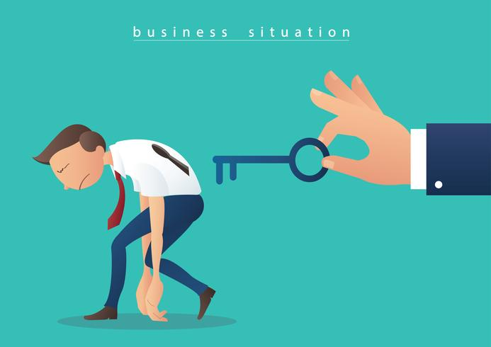 mano sosteniendo la llave grande y empresarios con la ilustración de vector de agujero clave