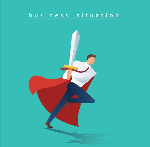 business man with sword running to successful, business concept situation vector illustration