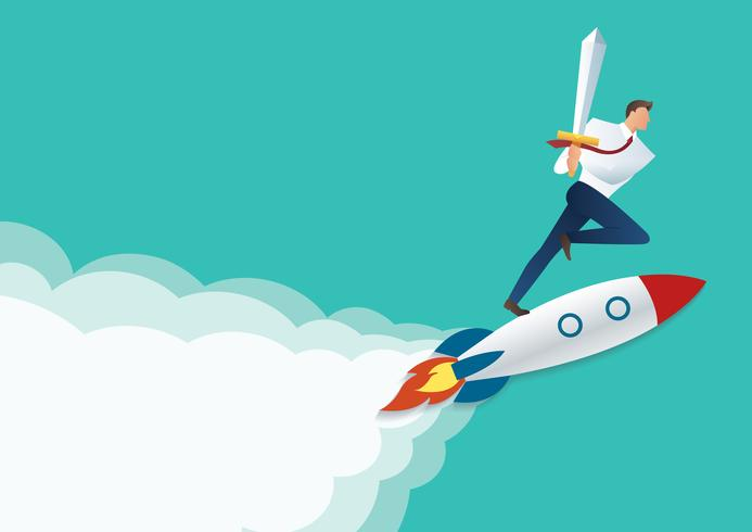 spada della tenuta dell'uomo d'affari sul razzo del getto, concetto di affari ad illustrazione di vettore di successo