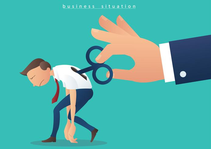 hand turning winder on businessman, businessman with a wind up key on his back illustration vector