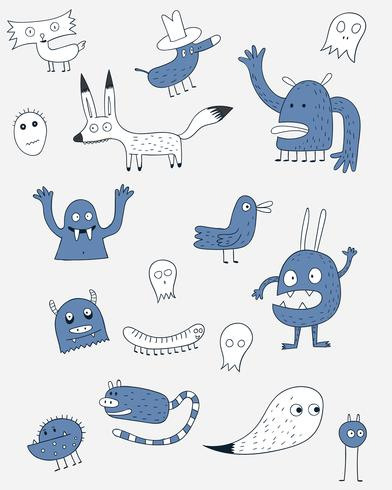 Cute monster in zoo suit.Cartoon animals the cute monster vector character design