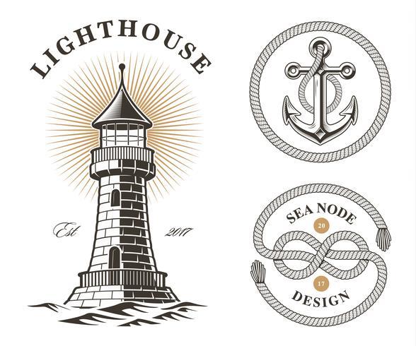 set of vintage sea design elements