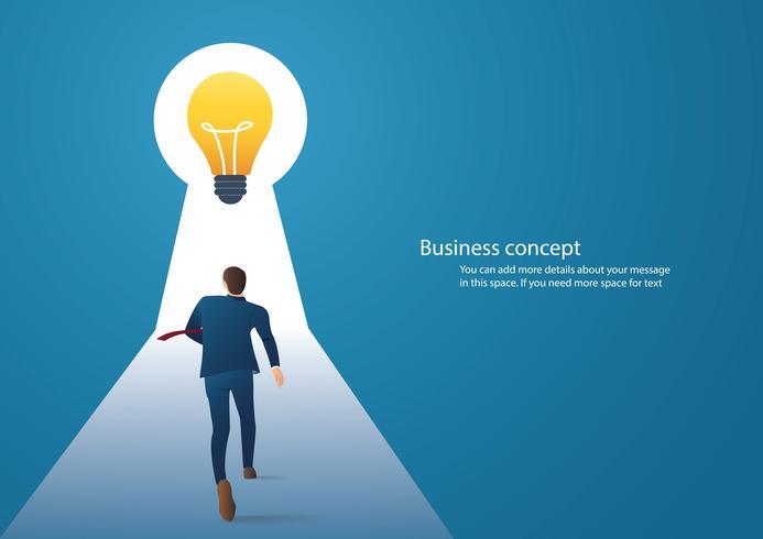 Ilustración de concepto de negocio de infografía de un empresario caminando en el ojo de la cerradura con luz brillante