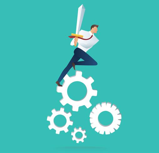 businessman holding sword on gear icon, concept of motivation for achievement vector illustration